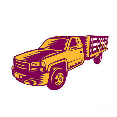 Pick-up Truck Woodcut Poster