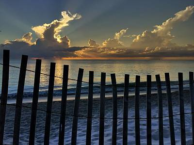 Picket Fence On The Beach Poster