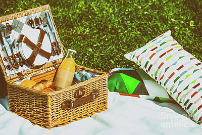 Picnic Basket Food On White Blanket With Pillows In Summer Poster by Radu Bercan