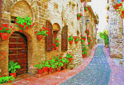 Picturesque Lane With Flowers In An Italian Hill Town Poster by Andrew Sokol