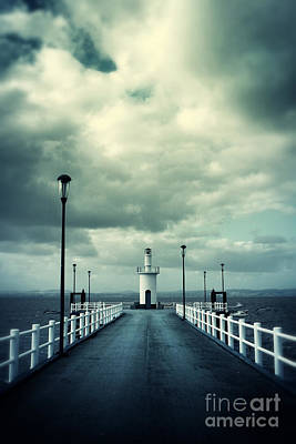 Pier And Lighthouse Poster by Carlos Caetano