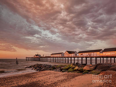 Poster featuring the photograph Pier At Sunrise by Colin and Linda McKie