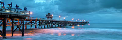Pier In Blue Panorama Poster by Gary Zuercher
