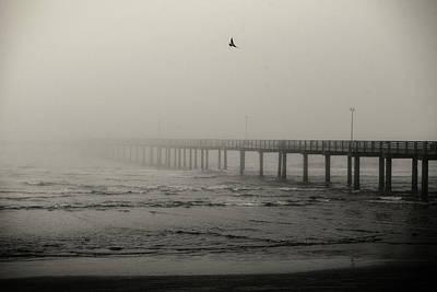 Pier In Fog Poster