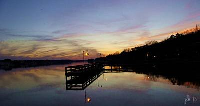 Pier Silhouetted In The Sunset On The Coosa River Poster