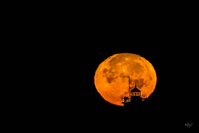 Poster featuring the photograph Pierhead Supermoon Silhouette by Everet Regal