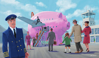 Poster featuring the digital art Pig Airline Airport by Martin Davey