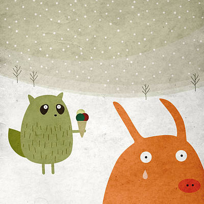 Pig And Squirrel In The Snow Poster