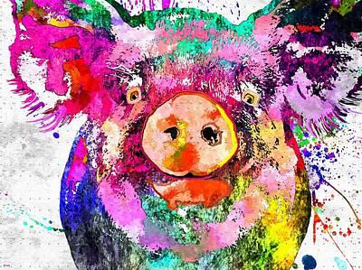 Pig Grunge Poster by Daniel Janda