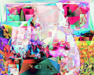 Pig In Field In Abstract Cubism 20170413 Poster