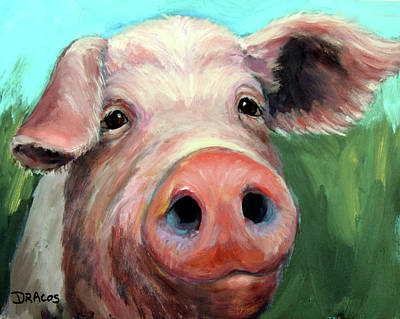 Pig On Blue And Green Poster by Dottie Dracos
