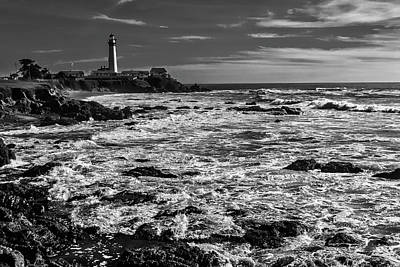 Pigeon Point Lighthouse Black And White Poster