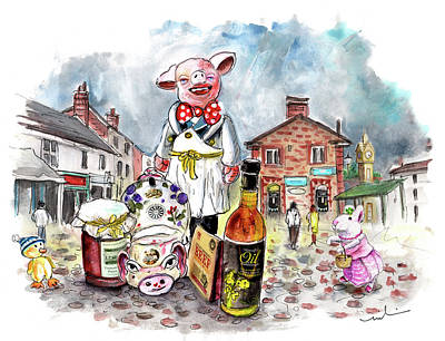 Pigged Out In Thirsk Poster by Miki De Goodaboom