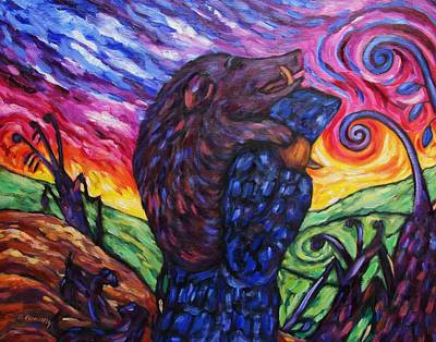 Poster featuring the painting Pighunter And Boar At Sunset by Dianne  Connolly