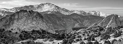 Poster featuring the photograph Pikes Peak Panorama - Garden Of The Gods - Colorado Springs - Black And White by Gregory Ballos