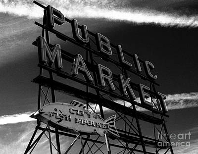 Pikes Place Market Sign Poster by Nick Gustafson