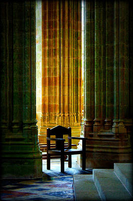 Pillars And Chair At Mont St Michel Poster by Susie Weaver