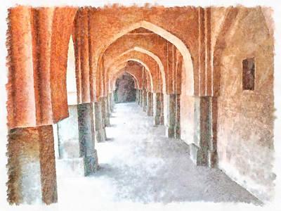 Pillars In A Heritage Delhi Building Poster by Ashish Agarwal