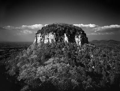 Pilot Mountain Back And White Poster by Mark Wagoner