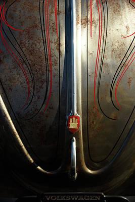Pin Striped Custom Bare Metal Vw Bug Hood Poster