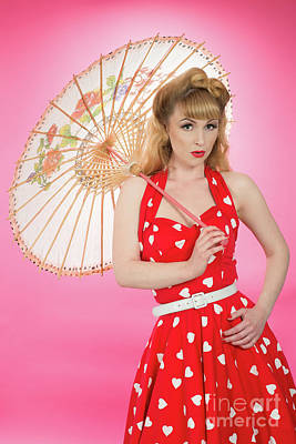 Pin Up Girl With Parasol Poster by Amanda Elwell