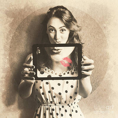 Pin Up Girl With Technology Love Poster