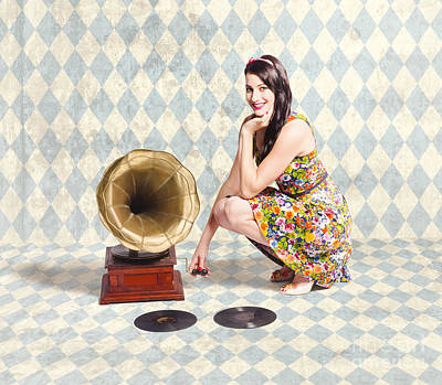 Pin Up Gramophone Girl Poster by Jorgo Photography - Wall Art Gallery