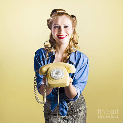 Pin-up Hotline Phone Operator. Call Us Poster by Jorgo Photography - Wall Art Gallery