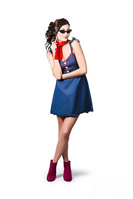 Pin Up Styling Fashion Girl In Retro Denim Dress Poster