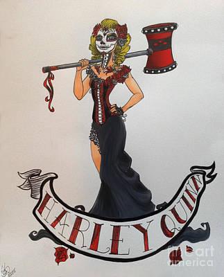 Pin Up Sugar Skull Harley Quinn Poster