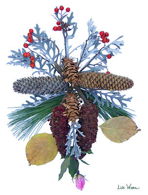 Poster featuring the digital art Pine Cone Bouquet by Lise Winne