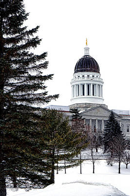 Pine Tree State Capitol In Winter Poster by Olivier Le Queinec