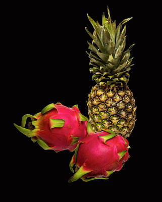 Poster featuring the photograph Pineapple And Dragon Fruit by David French