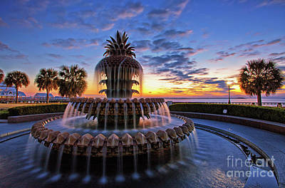 The Pineapple Fountain At Sunrise In Charleston, South Carolina, Usa Poster
