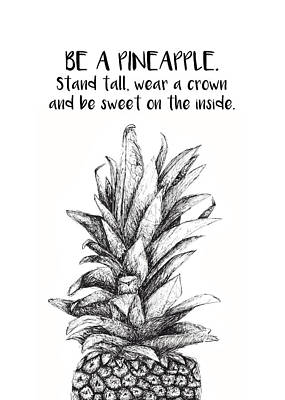 Poster featuring the drawing Pineapple by Nancy Ingersoll
