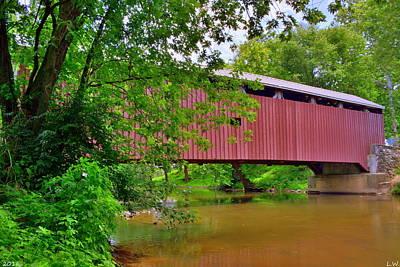 Pinetown Bushong's Mill Covered Bridge Poster by Lisa Wooten