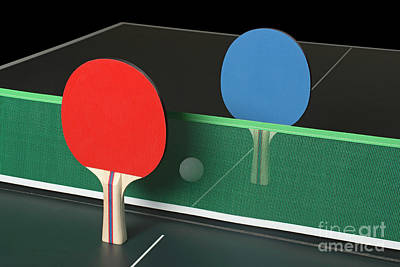Ping Pong Paddles On Table, Standing Upright Poster
