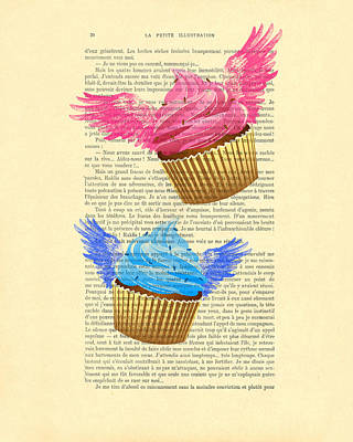 Pink And Blue Cupcakes Vintage Dictionary Art Poster by Madame Memento