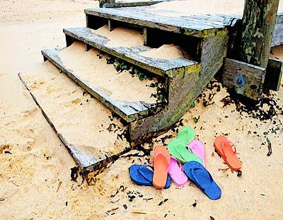 Pink And Blue Flip Flops By The Steps Poster