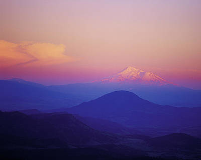 Pink And Blue Sunset Mt. Shasta Poster by Jim Nelson