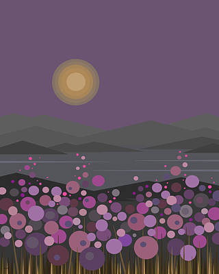 Pink And Purple Flowers At Evening Poster