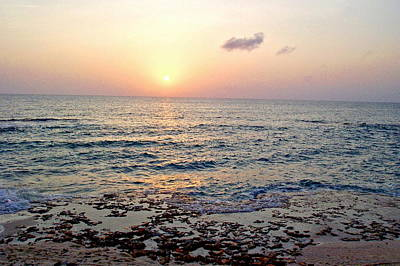 Pink And Purple Sunset Over Grand Cayman Poster by Amy McDaniel