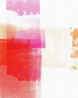 Pink And Red Minimalist Abstract Art By Linda Woods Poster