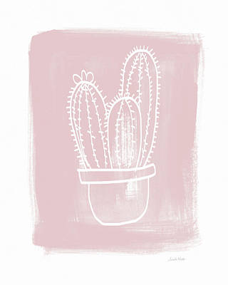 Pink And White Cactus- Art By Linda Woods Poster by Linda Woods