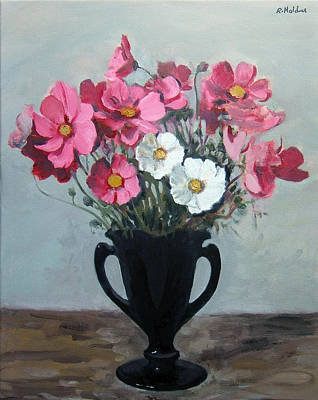 Pink And White Cosmos In Black Milk Glass Vase Poster