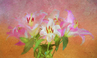 Poster featuring the photograph Pink And White Lilies by Bellesouth Studio