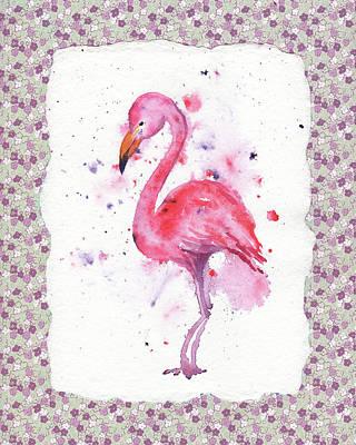 Pink Baby Flamingo Watercolor Poster