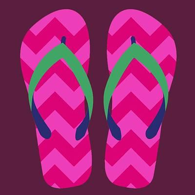 Poster featuring the digital art Pink Beach Sandals by Jennifer Hotai