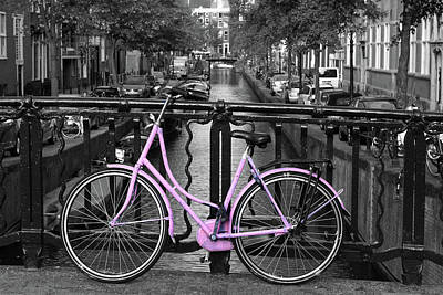Pink Bicycle By The Canal Poster