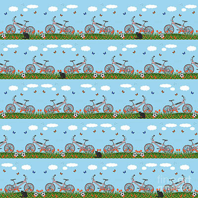 Pink Bicycles Pattern Poster by Gaspar Avila
